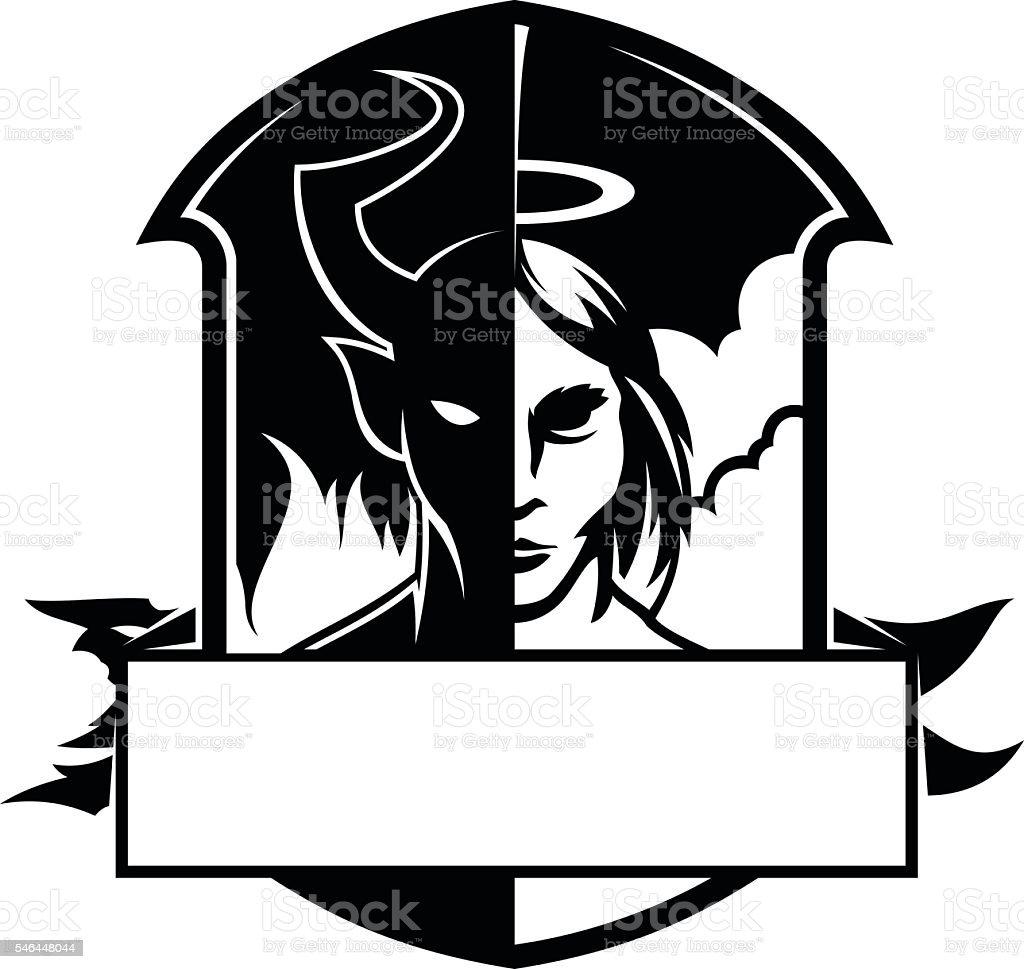 Devil and angel vector art illustration