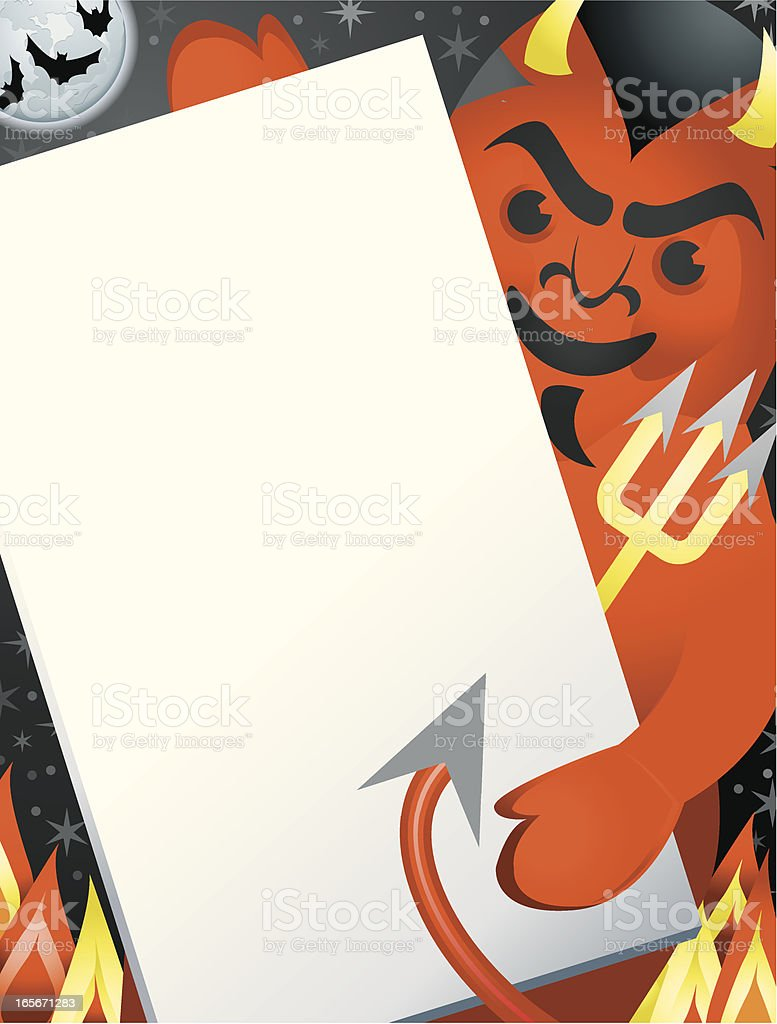 Devil Demon Holding a Sign Halloween royalty-free stock vector art