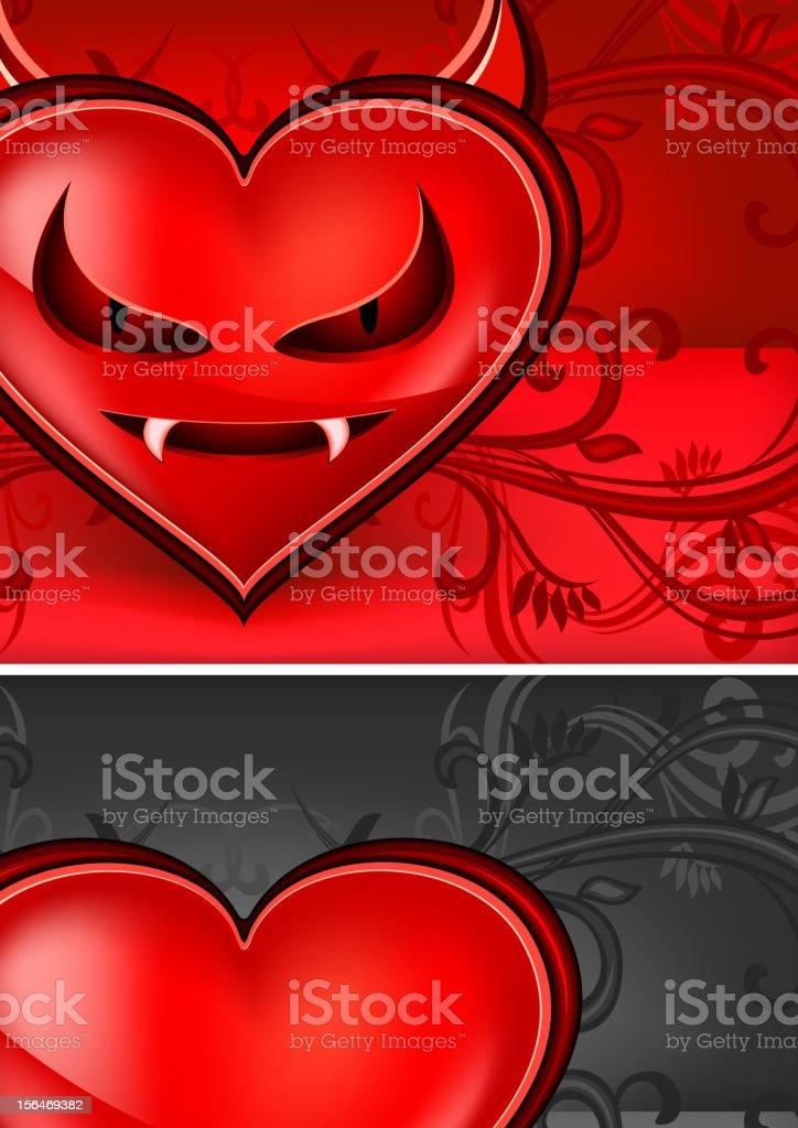 Devil face heart vector art illustration