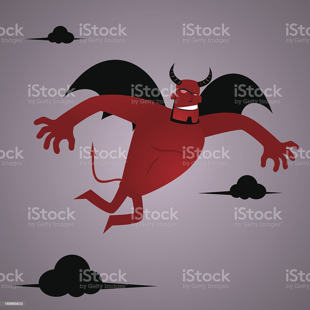 Devil(demon) flying and searching royalty-free stock vector art