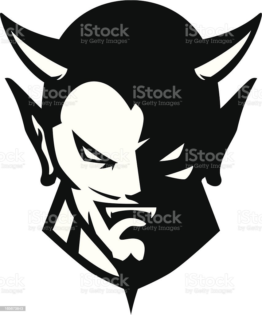 Devil head mascot B&W vector art illustration