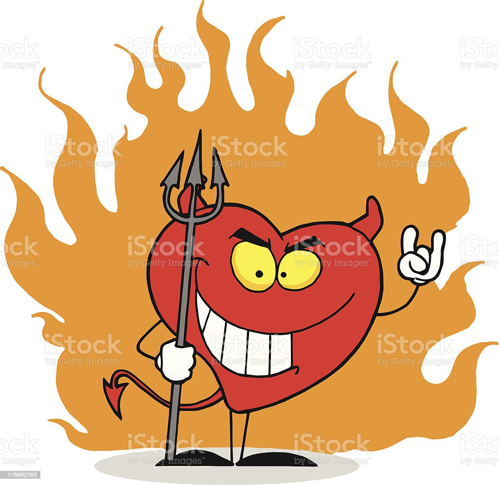 Devil Heart With Flames royalty-free stock vector art