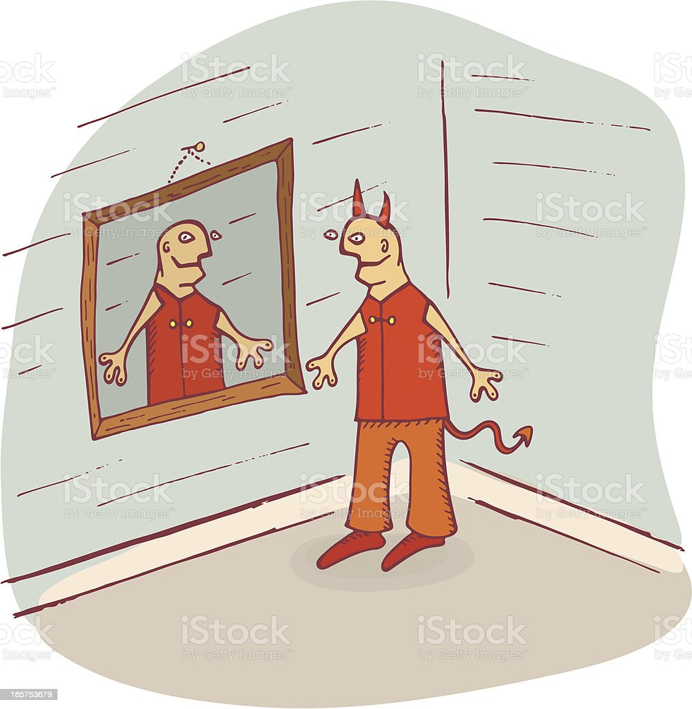 Devil Looking in Mirror royalty-free stock vector art