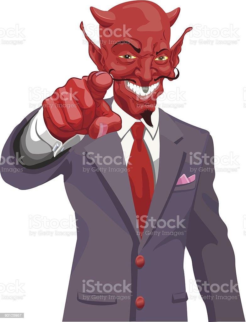 Devil pointing royalty-free stock vector art