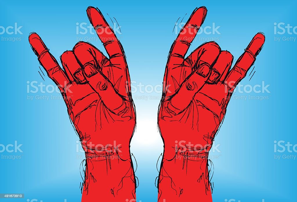 Devil sign vector art illustration