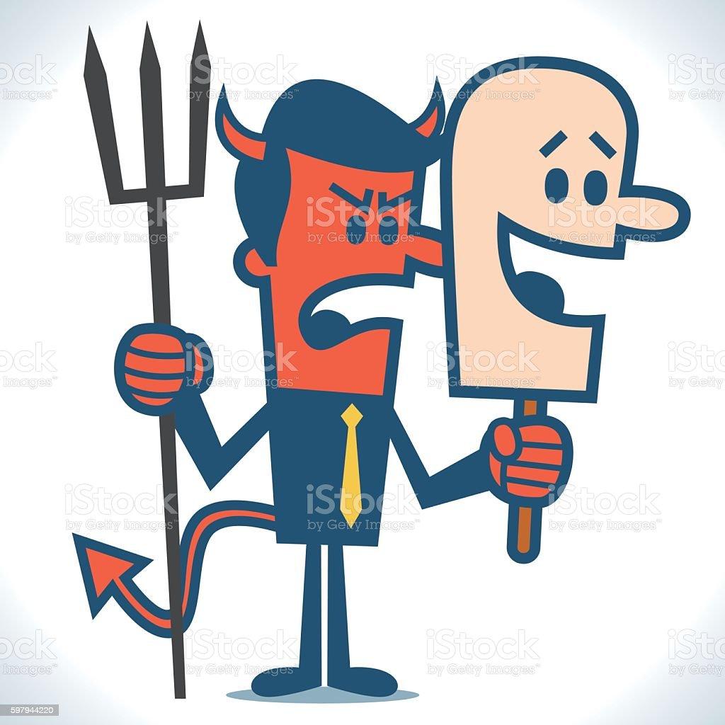 Devil wearing a mask vector art illustration