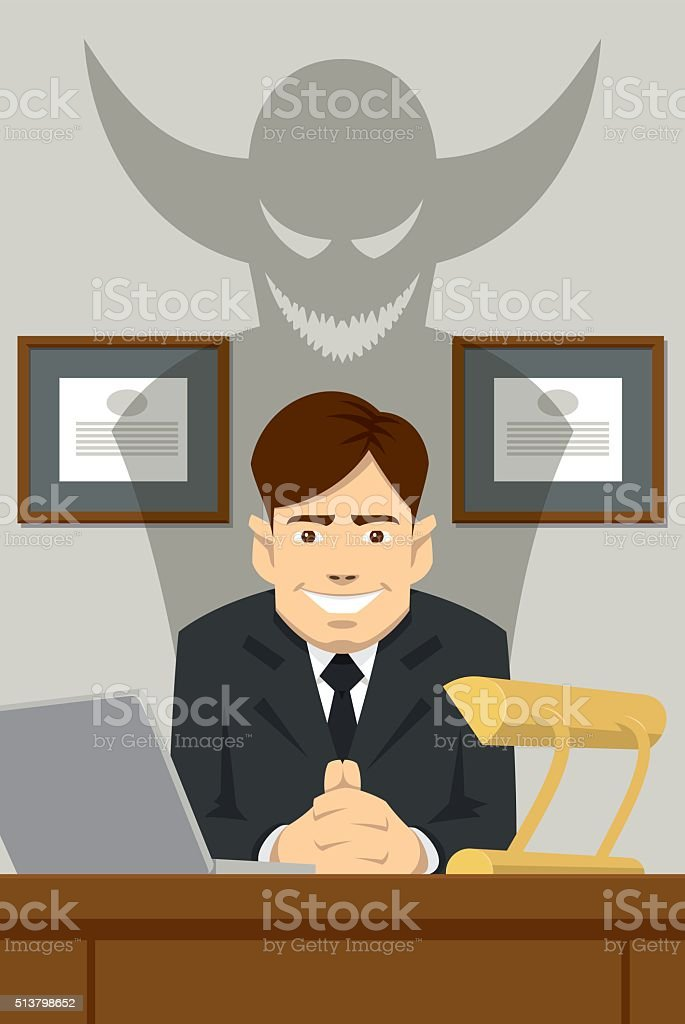 Devilish boss sitting behind the desk vector art illustration