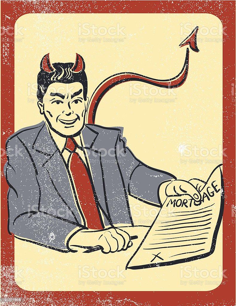 Devilish mortgage broker royalty-free stock vector art