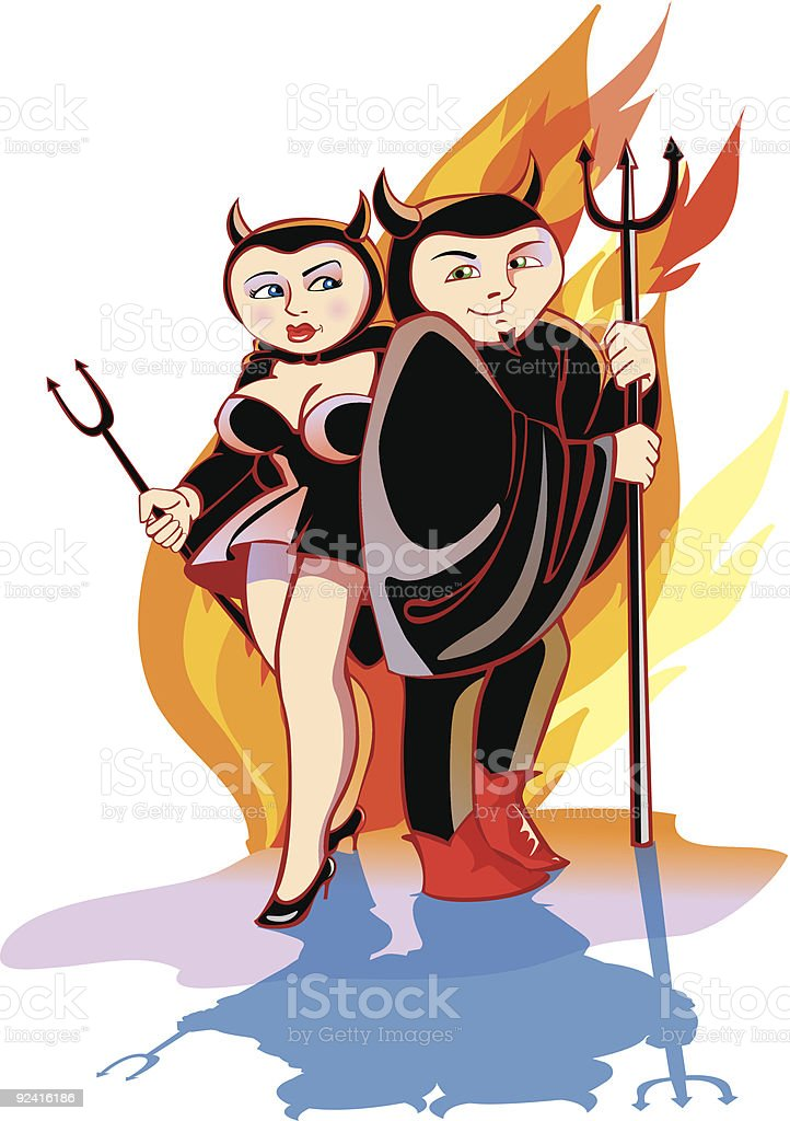 devils Couple royalty-free stock vector art