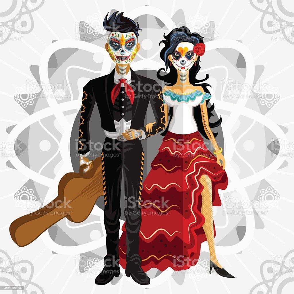 Dia De Los Muertos Day Of The Dead Bride vector art illustration