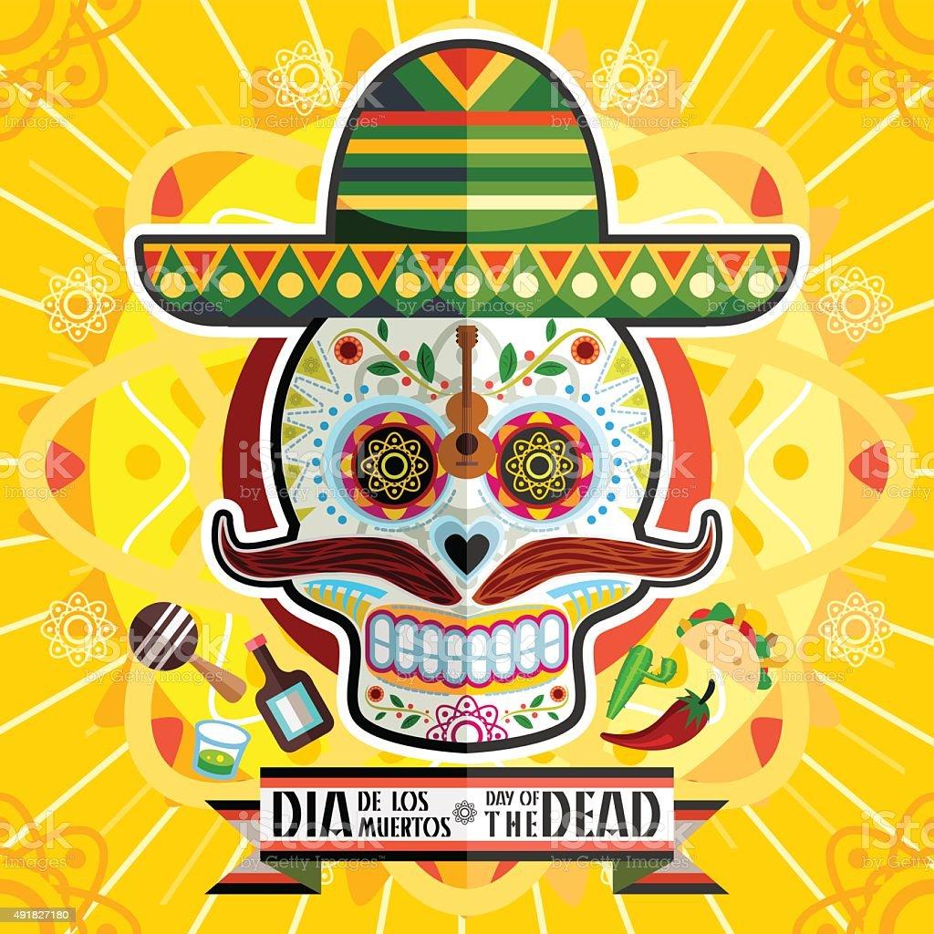 Dia De Los Muertos Day Of The Dead Skull vector art illustration