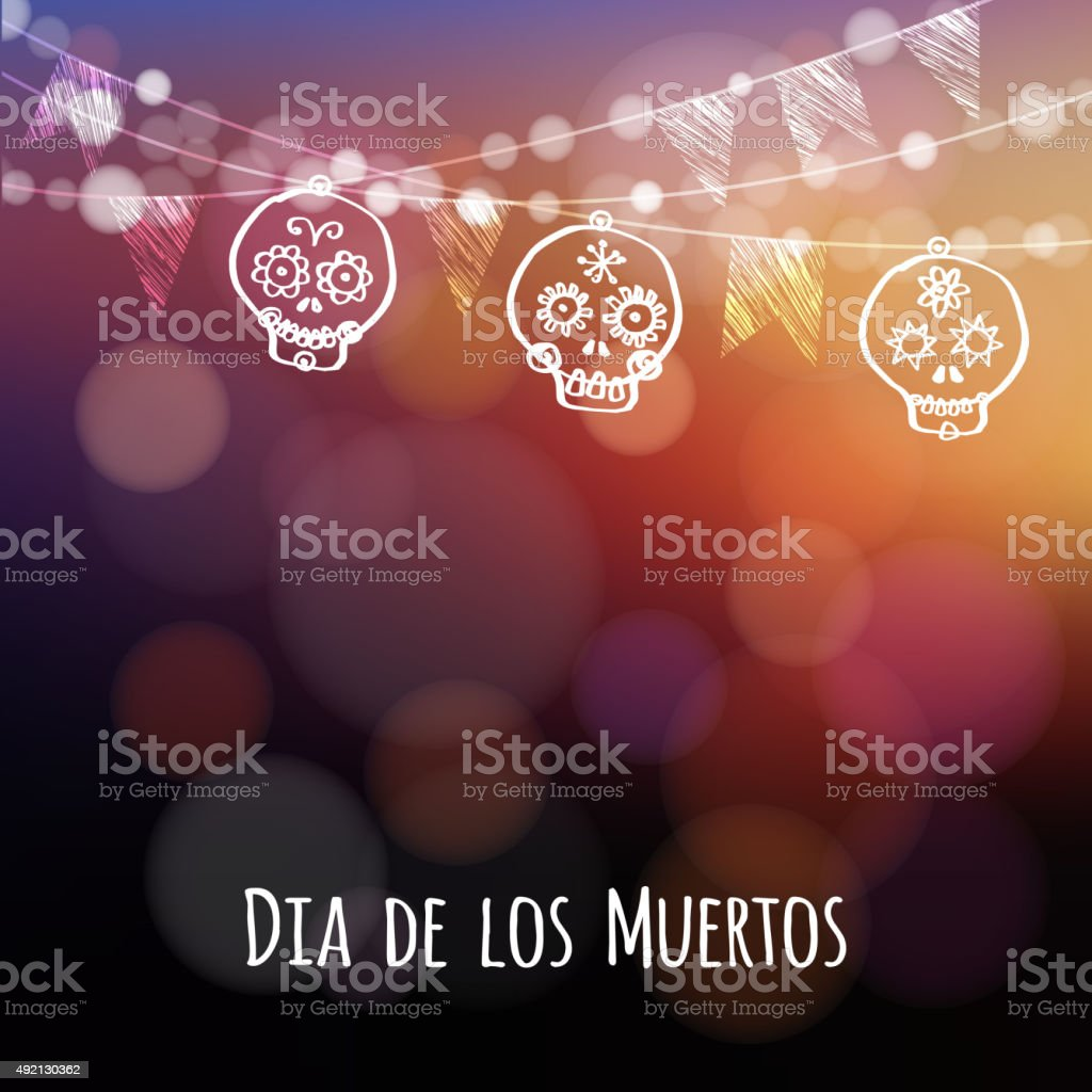 Dia de los muertos, Halloween card, hand drawn ornamental sculls vector art illustration