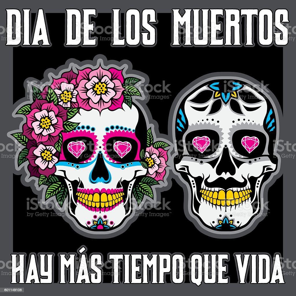 Dia de los Muertos or Day of the Dead Placard vector art illustration