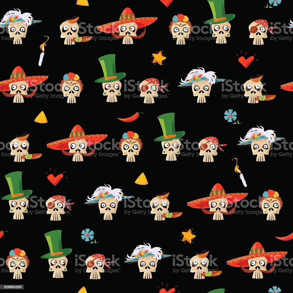 Dia de Muertos. Variety of Mexican style skulls. Seamless pattern. vector art illustration