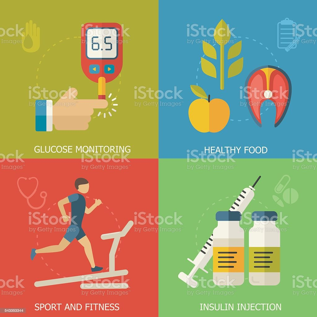 Diabetes background with flat icons. vector art illustration