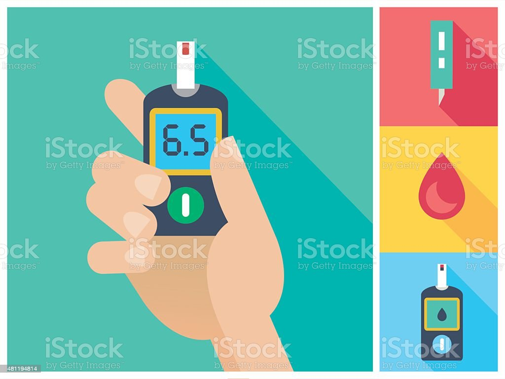 Diabetes Flat Icon Set Hand Holding Glucometer vector art illustration