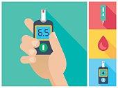 Diabetes Flat Icon Set Hand Holding Glucometer