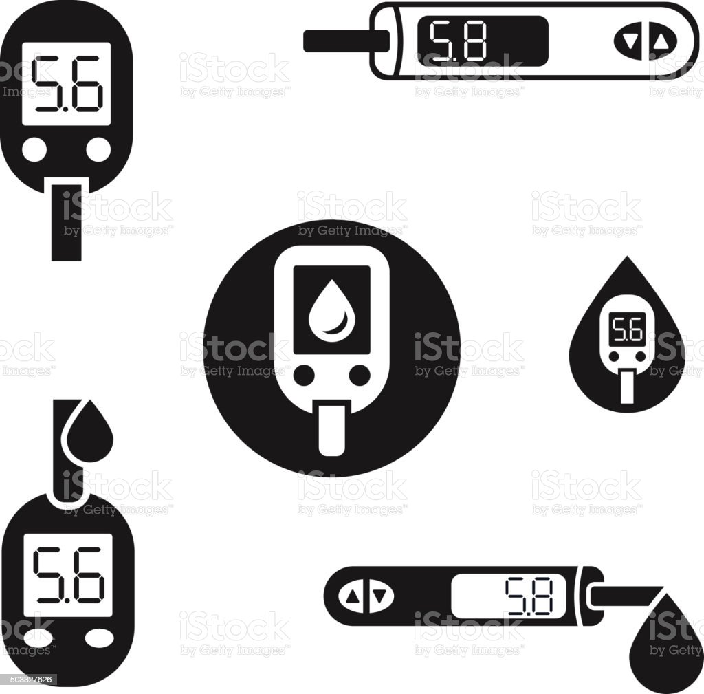 Diabetes Glucometer Icons 08 A vector art illustration