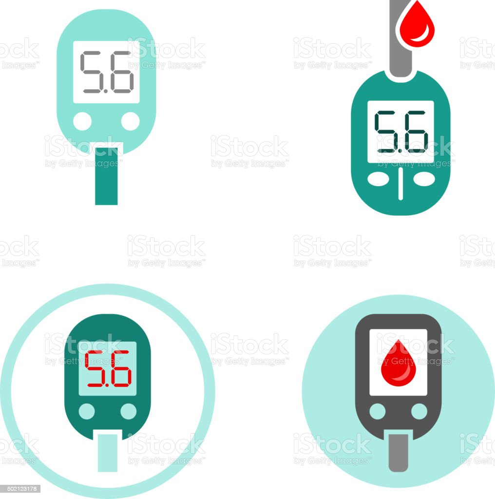 Diabetes Glucometer Icons vector art illustration