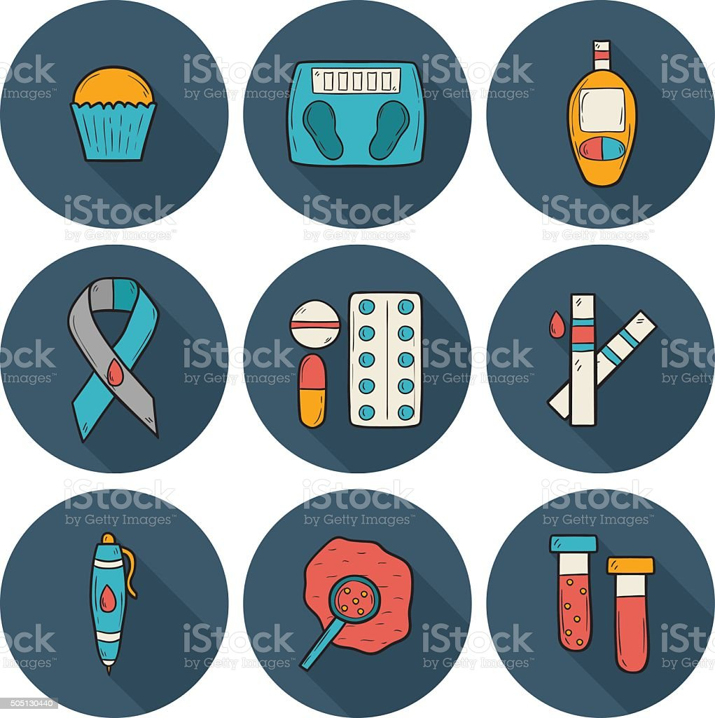 Diabetes hand drawn icons vector art illustration