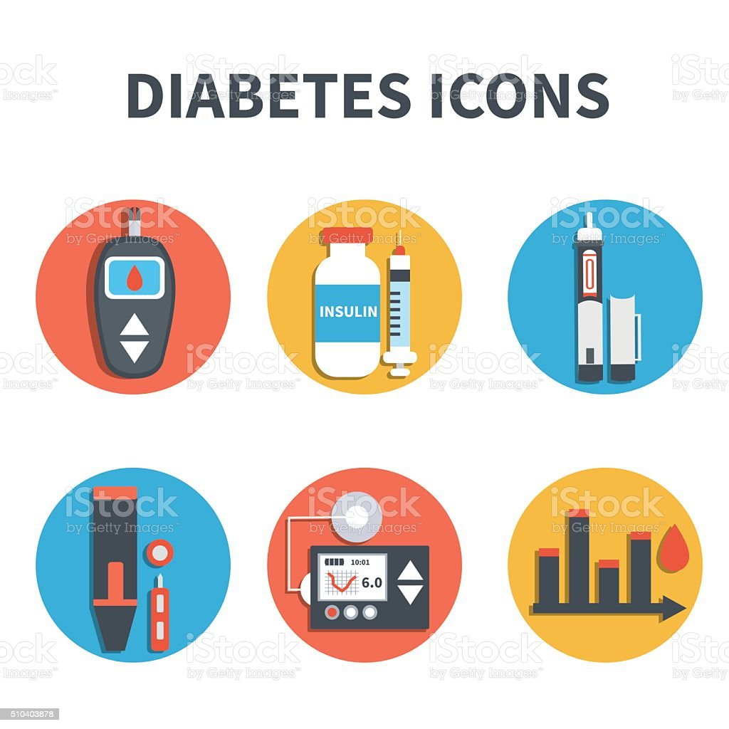 Diabetes icons vector art illustration