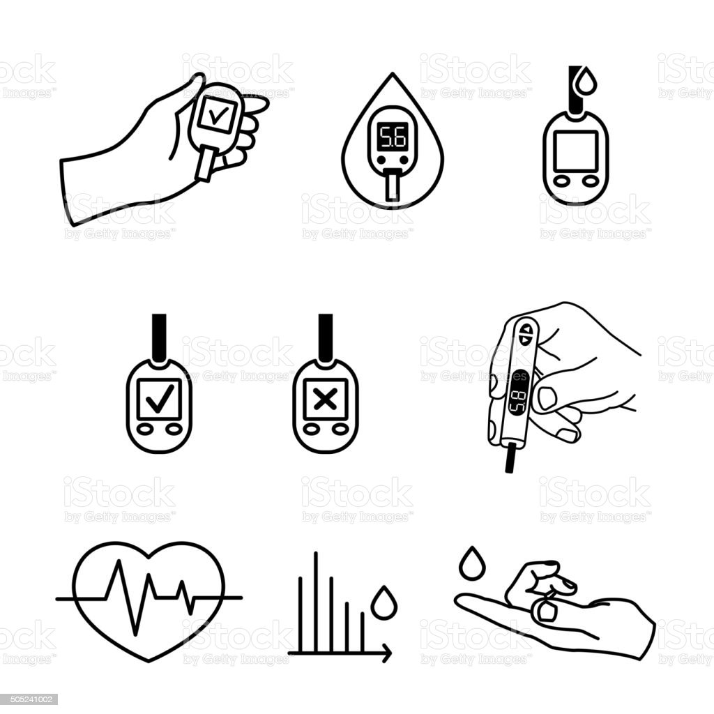 Diabetes Icons vector vector art illustration
