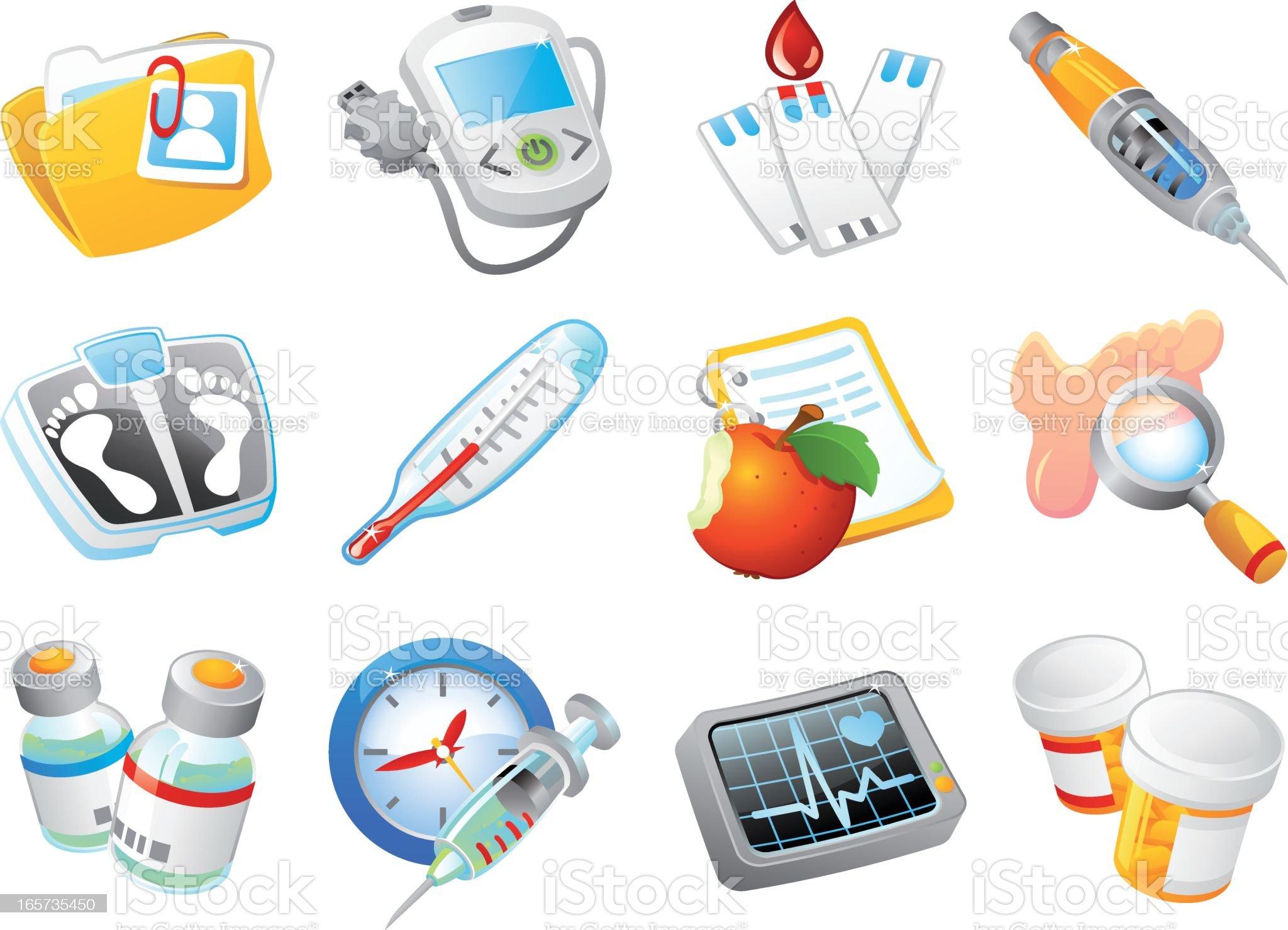 Diabetes Management Icon Set royalty-free stock vector art