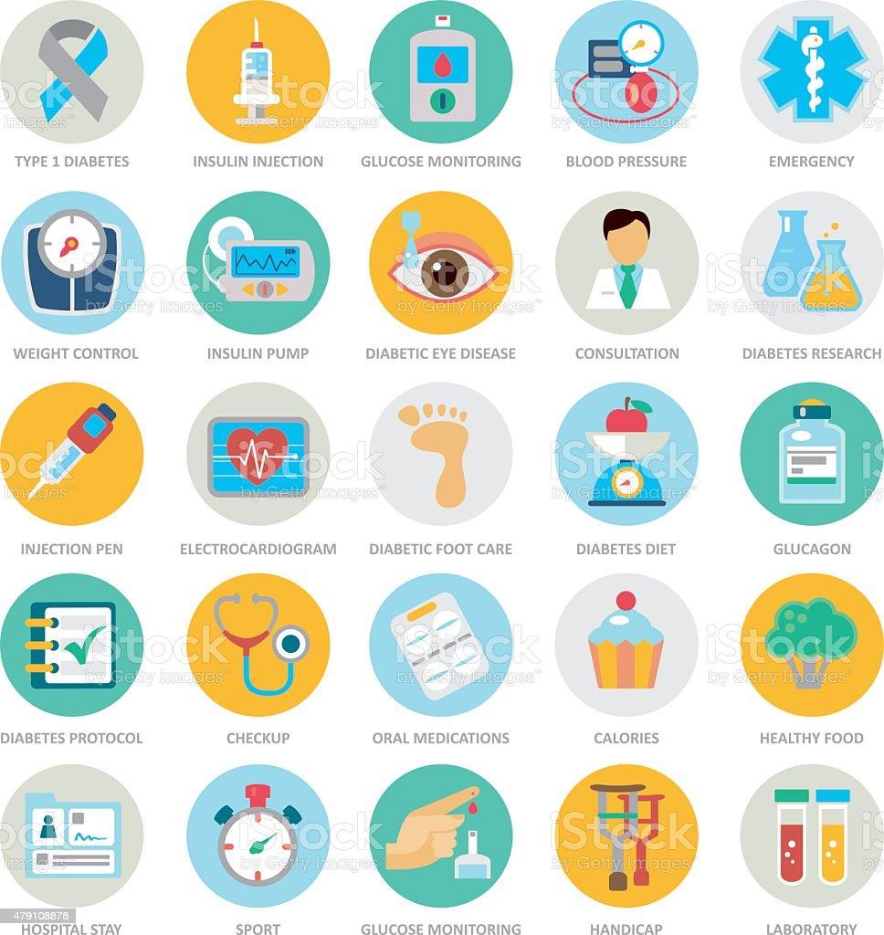 Diabetes Mellitus Medical Duotone Circle Icon Set vector art illustration