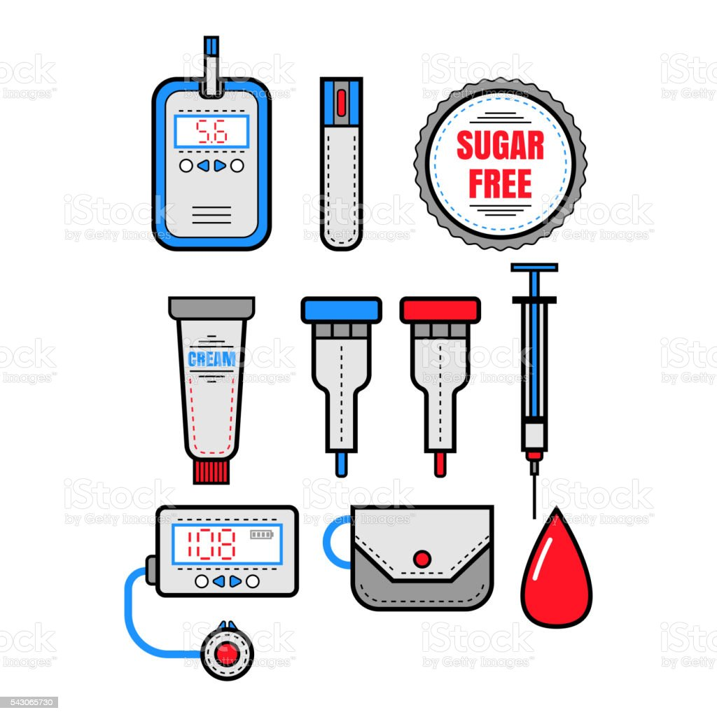 Diabetes. Set of flat colored icons. Glucometer and insulin. Vector vector art illustration