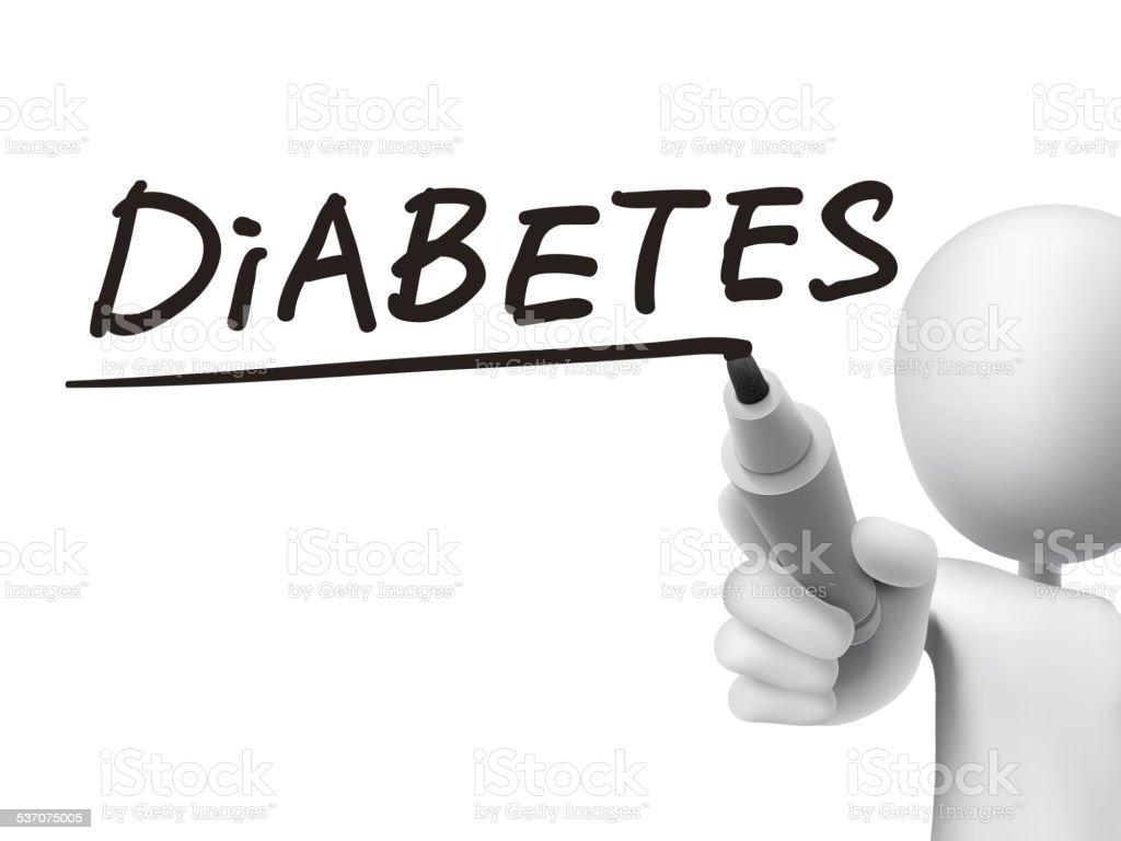 diabetes word written by 3d man vector art illustration