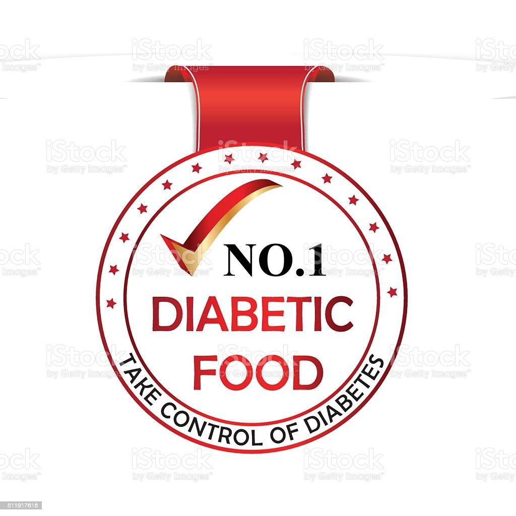 Diabetic food red ribbon vector art illustration