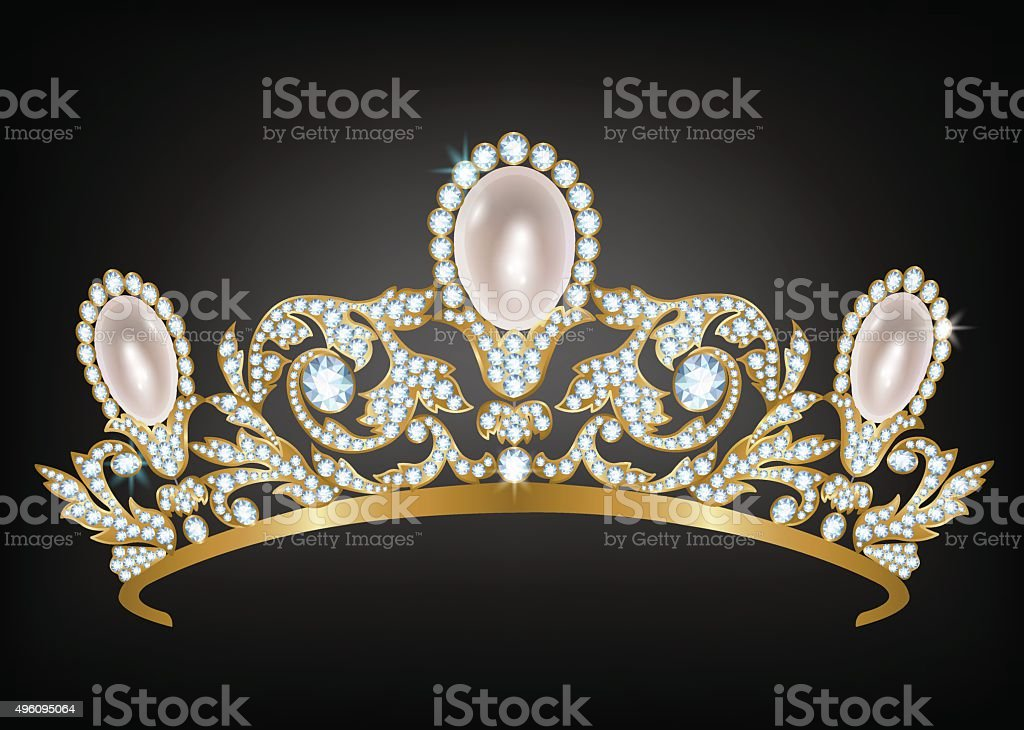 Diadem with diamonds and pearls vector art illustration