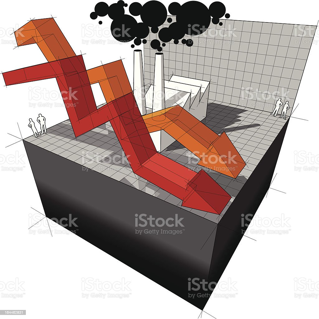 Diagram of a factory with falling business arrows royalty-free stock vector art