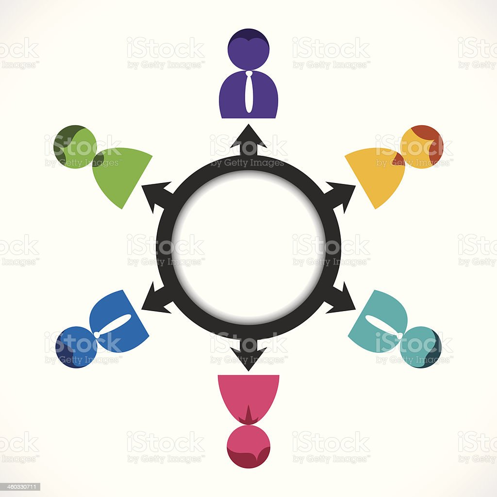 A diagram of a group discussion  vector art illustration