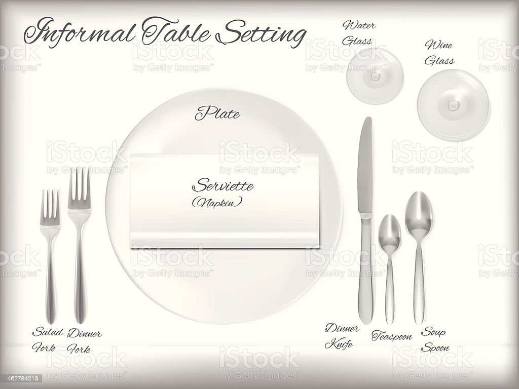 Diagram Of A Informal Table Setting - Vector vector art illustration