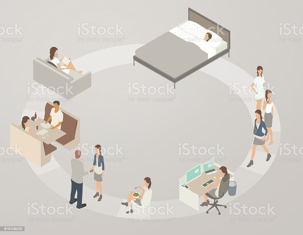 Diagram of a typical day vector art illustration