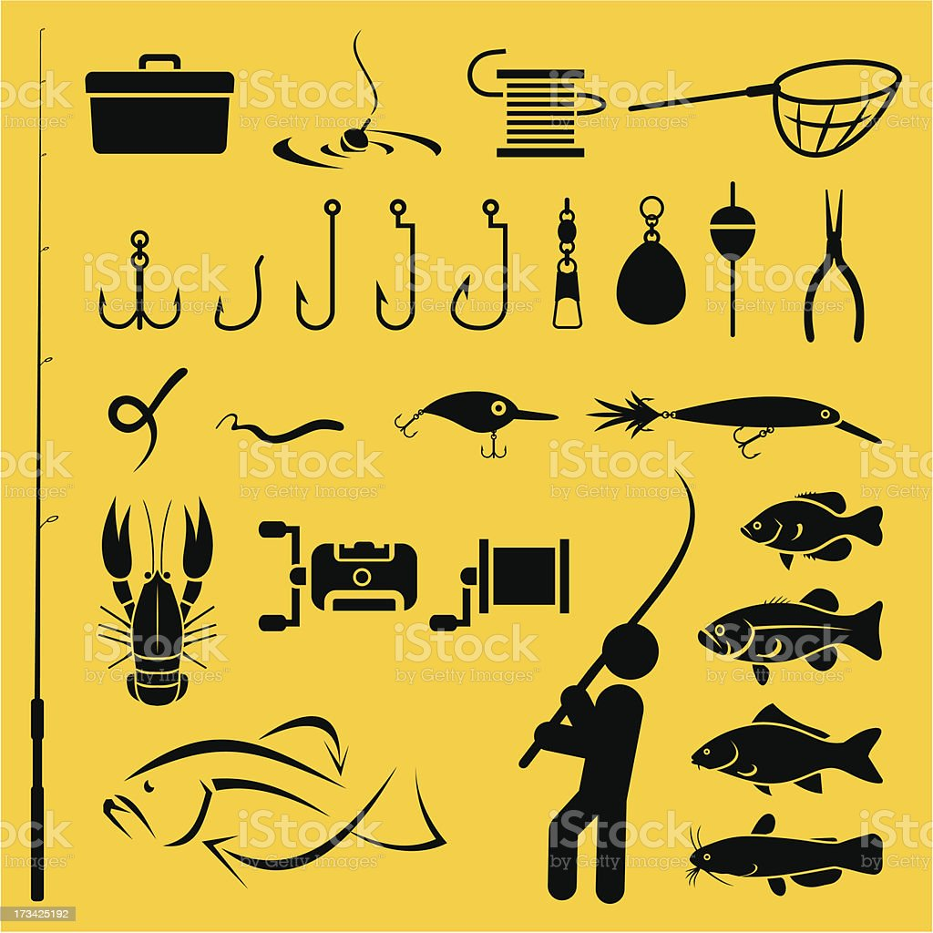 Diagram of yellow and black fishing icons vector art illustration
