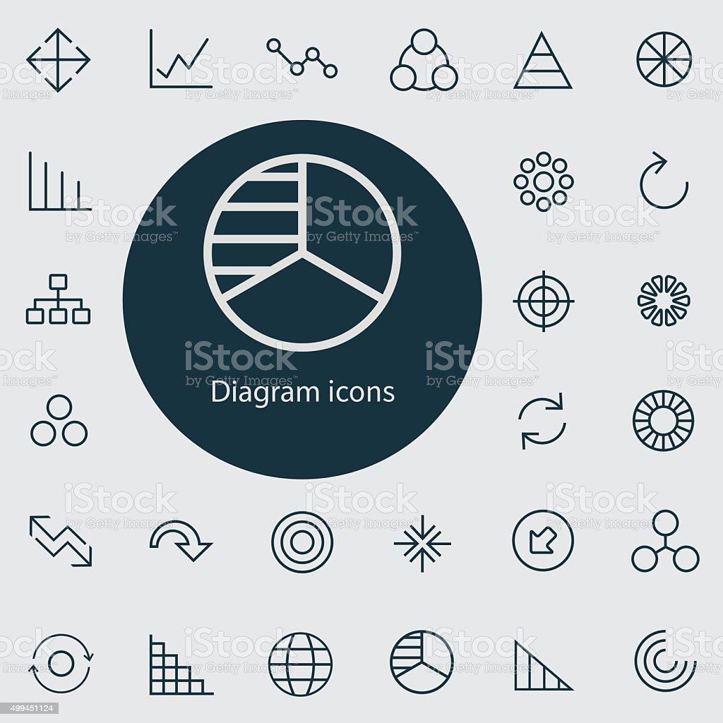 diagram outline, thin, flat, digital icon set vector art illustration