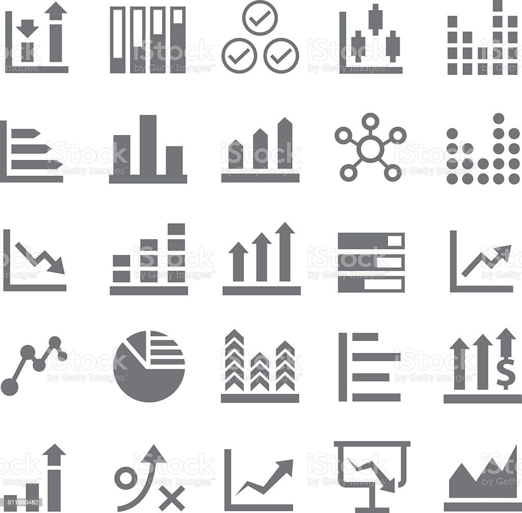 Diagrams and graphs icon set vector art illustration
