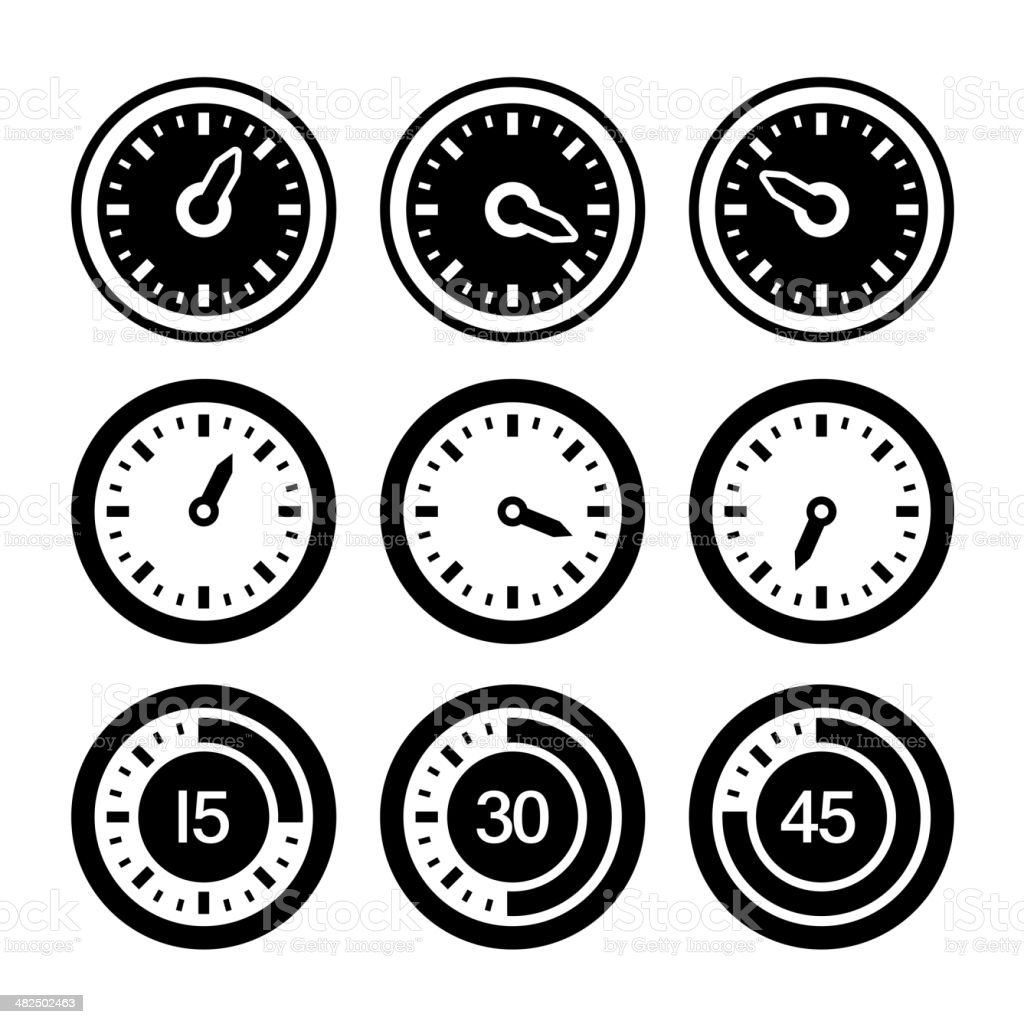Dial and Timers Icons Set. Vector royalty-free stock vector art
