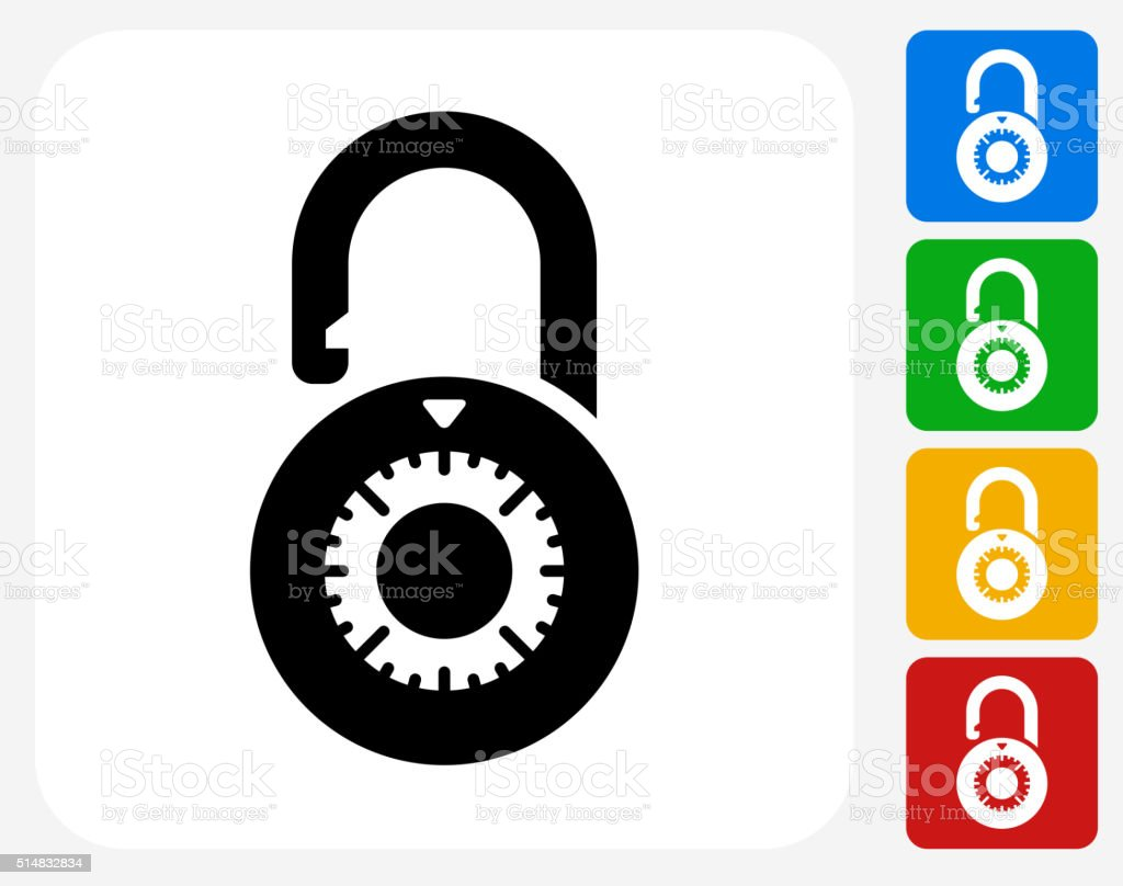 Dial Security Lock Icon Flat Graphic Design vector art illustration