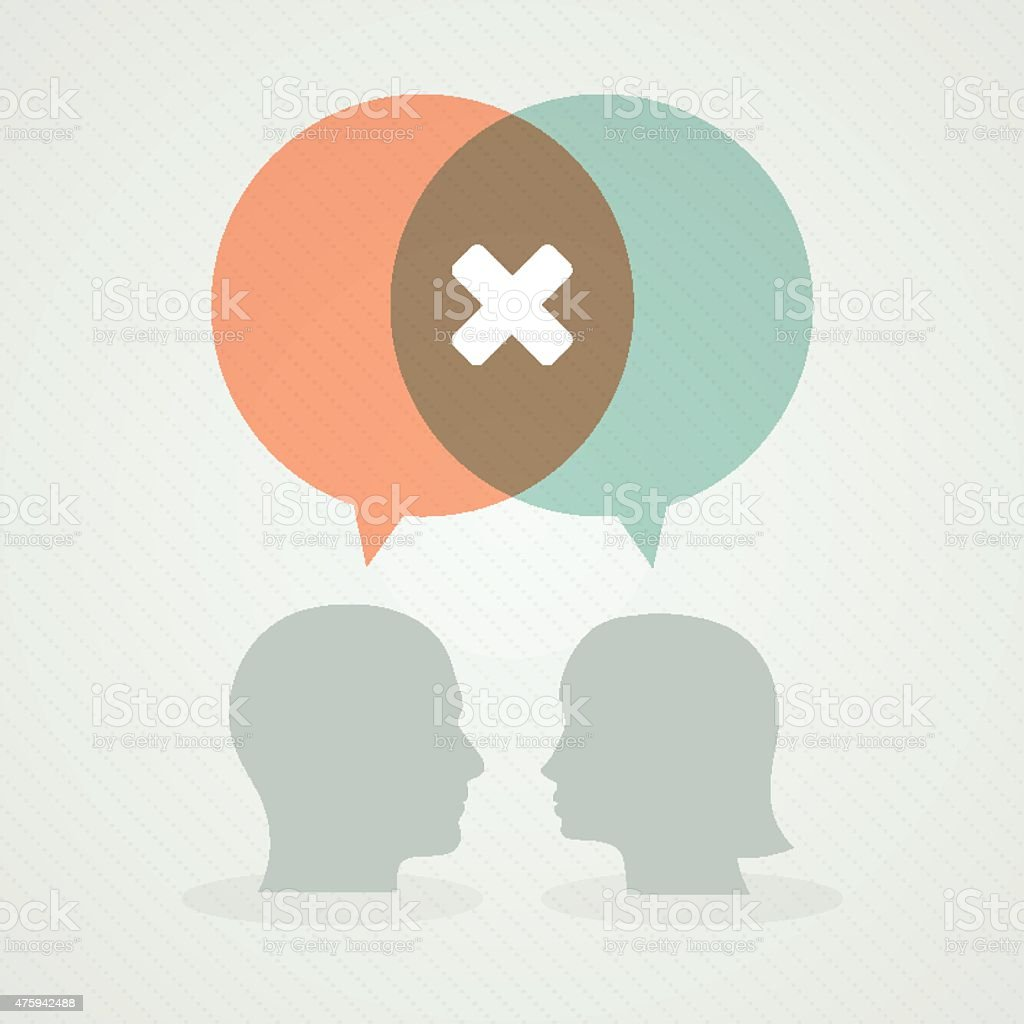 Dialog about negativity vector art illustration