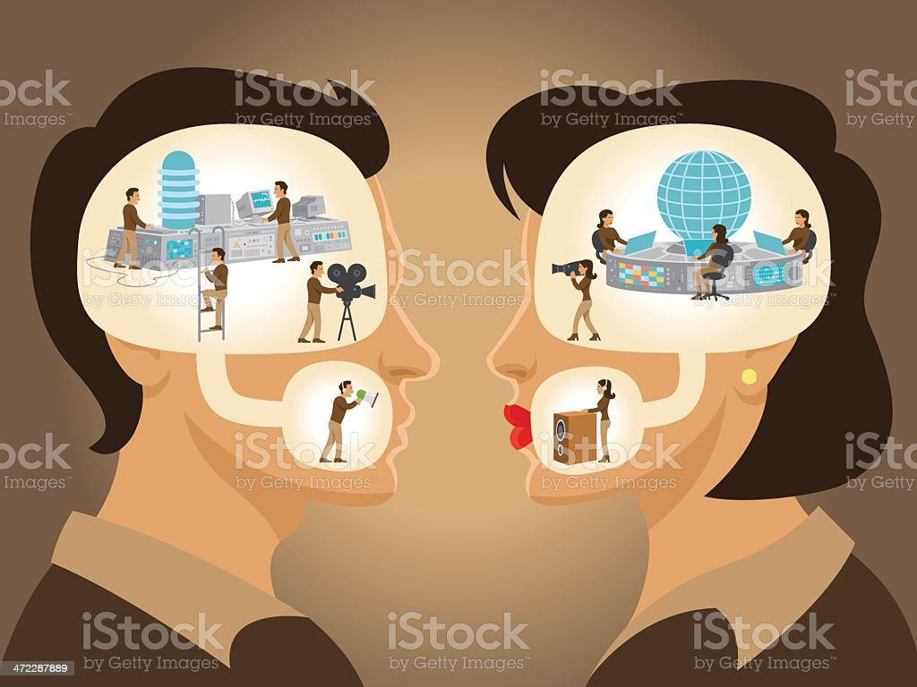Dialog - Man and Woman vector art illustration