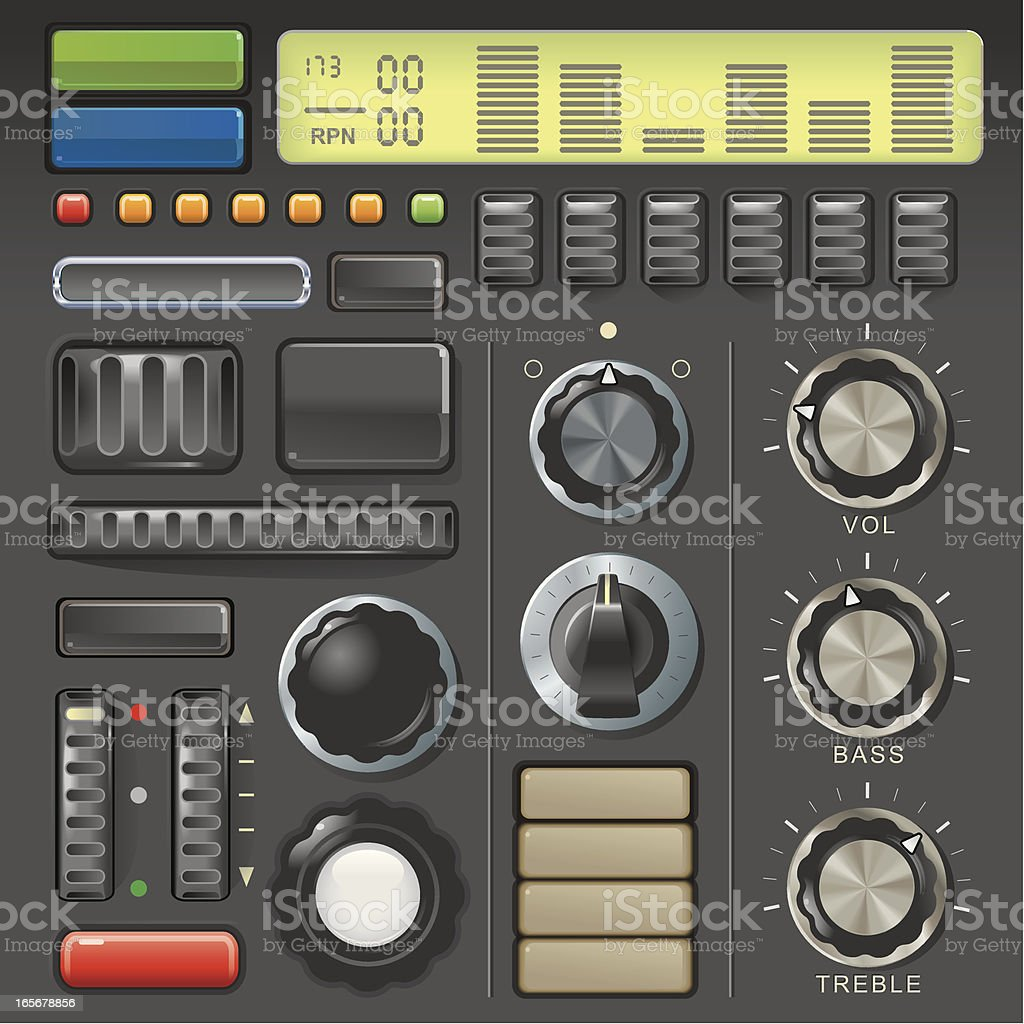 Dials and buttons vector art illustration