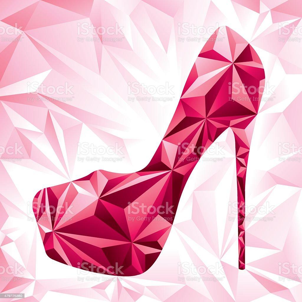 Diamond Abstract Low Poly High Heel vector art illustration
