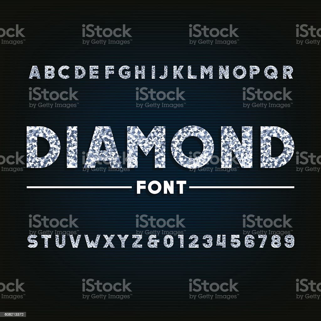Diamond alphabet font vector art illustration