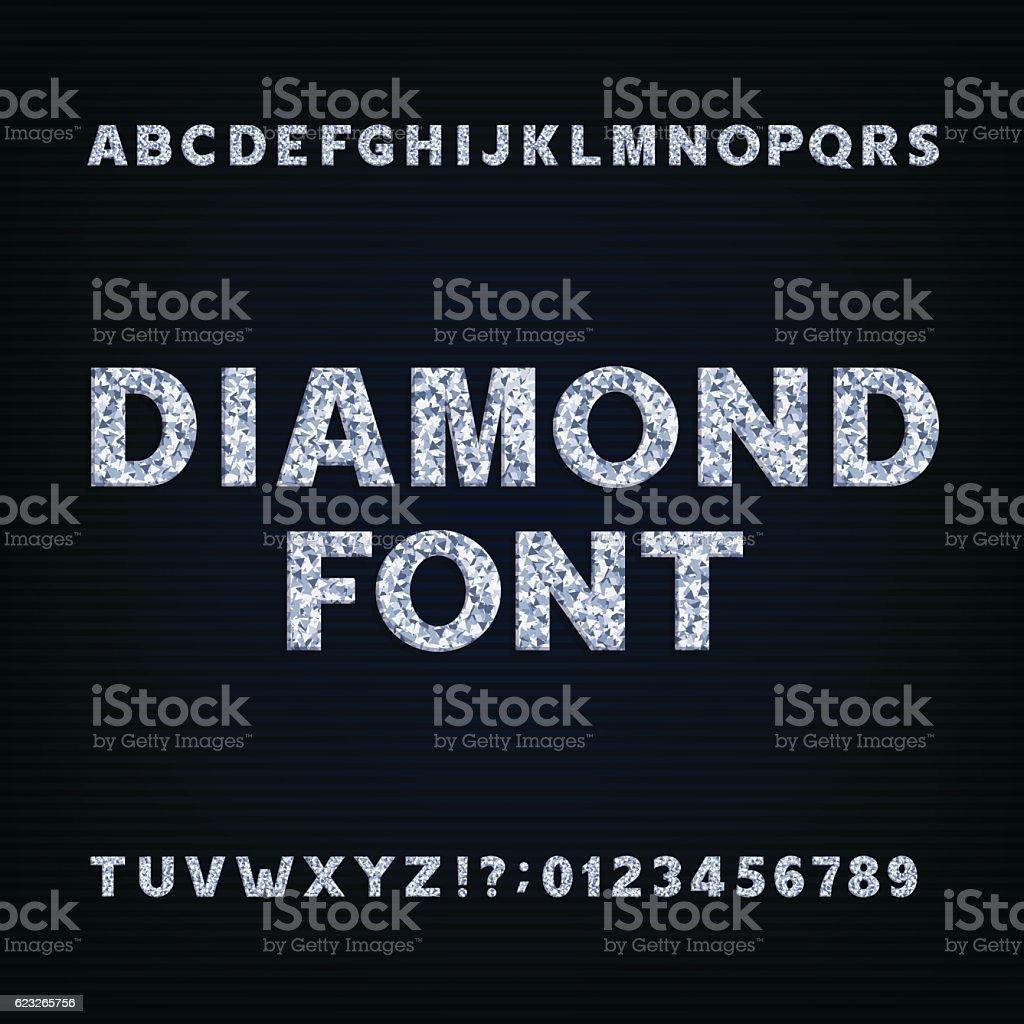 Diamond alphabet font vector art illustration