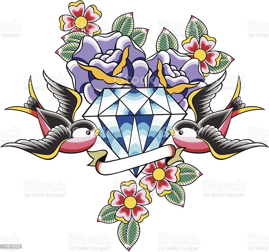 diamond e uccello design illustrazione royalty-free