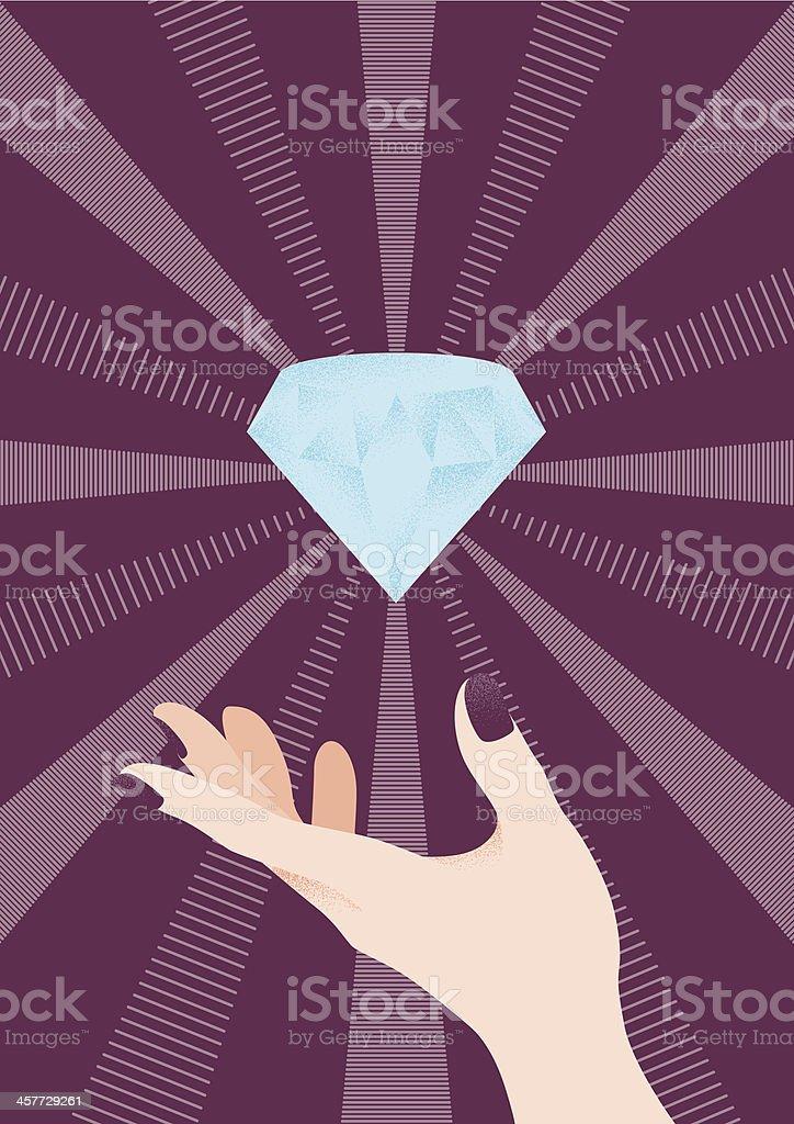 Diamond And Hand royalty-free stock vector art