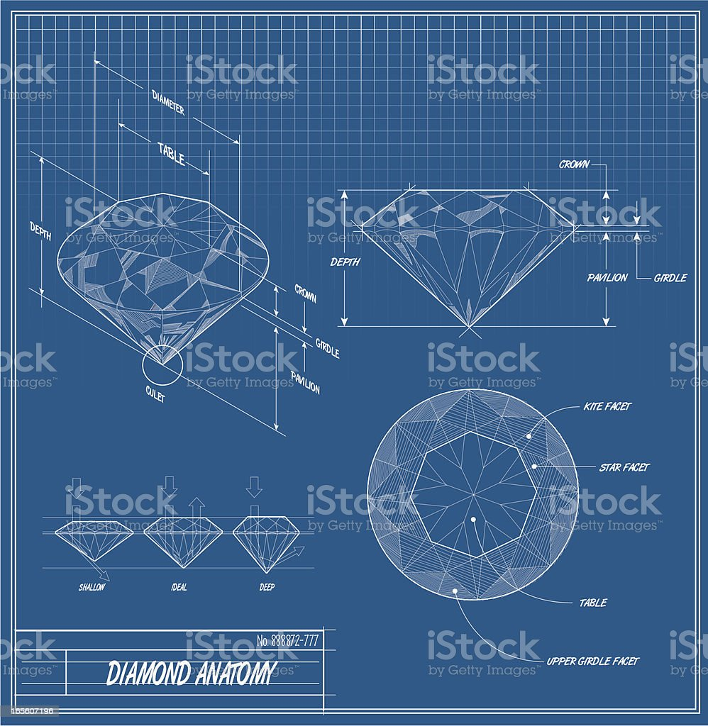 Diamond Blueprint vector art illustration